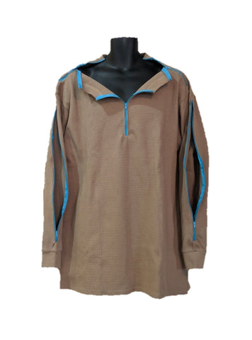 PICC LINE THERMAL SHIRT DIALYSIS CHEMO - KHAKI - Blue Zip