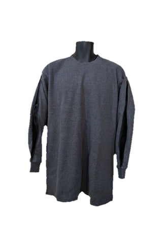 PICC LINE THERMAL SHIRT DIALYSIS CHEMO - CHARCOAL - Black Zip