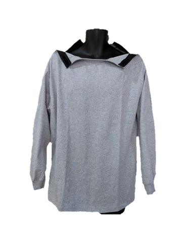 SHOULDER OPEN TSHIRT LONG SLEEVES - ASH GRAY
