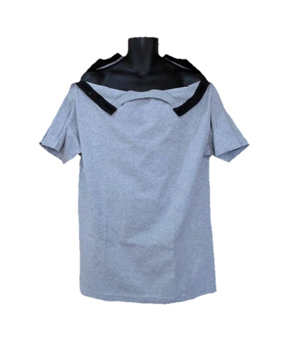 SHOULDER OPEN TSHIRT SHORT SLEEVES- ASH GRAY