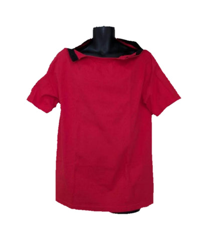 SHOULDER OPEN TSHIRT SHORT SLEEVES- RED