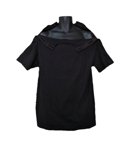 SHOULDER OPEN TSHIRT SHORT SLEEVES - BLACK