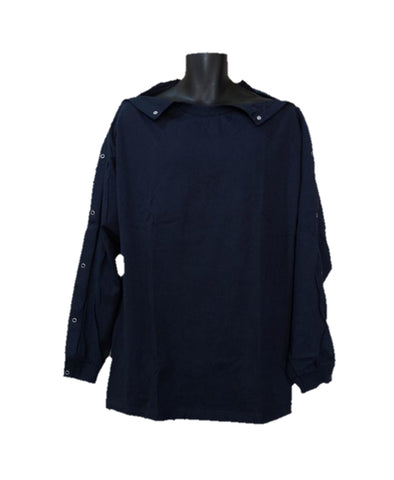 SHOULDER OPEN TSHIRT LONG SLEEVES - NAVY BLUE