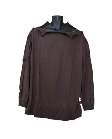 SHOULDER OPEN TSHIRT LONG SLEEVES - BROWN