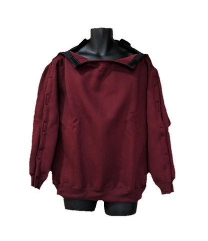 SHOULDER OPEN PICC LINE SWEATHSHIRT - BURGUNDY