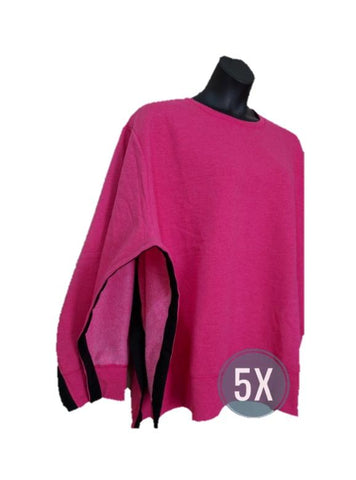 BOTH SIDE OPEN SWEATSHIRT - FUCHIA 5X