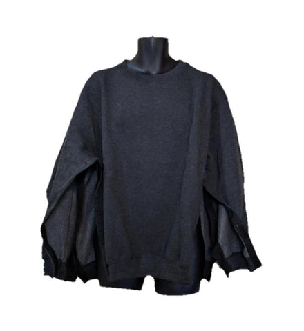 BOTH SIDE OPEN SWEATSHIRT - CHARCOAL