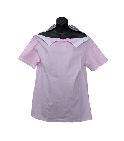 SHOULDER OPEN TSHIRT SHORT SLEEVES- PINK