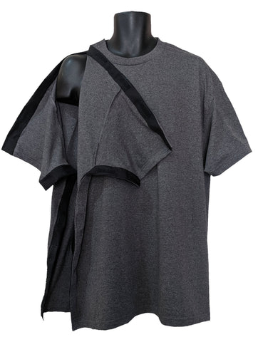 SIDE OPEN TSHIRT for POST OP SHOULDER or ARM SURGERIES - CHARCOAL
