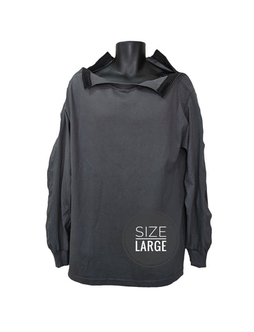 SHOULDER OPEN TSHIRT LONG SLEEVES - CHARCOAL