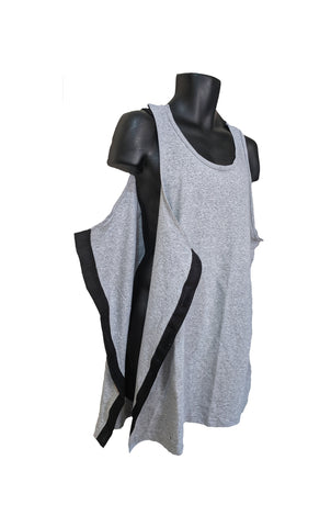 SIDE OPEN TANK TOP for POST OP SHOULDER or ARM SURGERIES - ASH GRAY