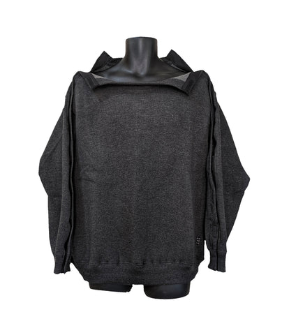 SHOULDER OPEN PICC LINE SWEATHSHIRT - CHARCOAL