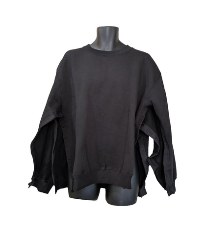 BOTH SIDE OPEN SWEATSHIRT -  BLACK