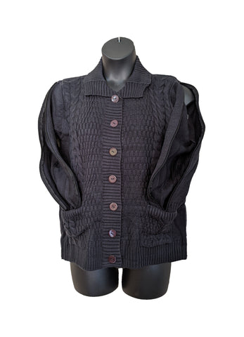 PICC CARDIGAN SWEATER - BLACK
