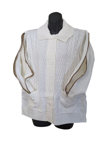 PICC CARDIGAN SWEATER - WHITE