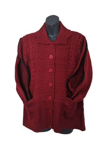 PICC CARDIGAN SWEATER - BURGUNDY