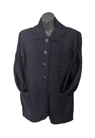 PICC CARDIGAN SWEATER - NAVY BLUE