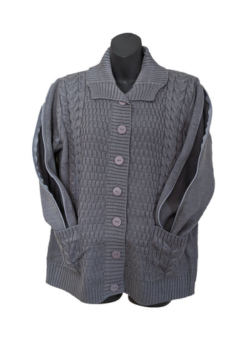 PICC CARDIGAN SWEATER - GRAY
