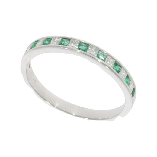 18ct White Gold Princess Cut Emerald & Diamond Eternity Ring