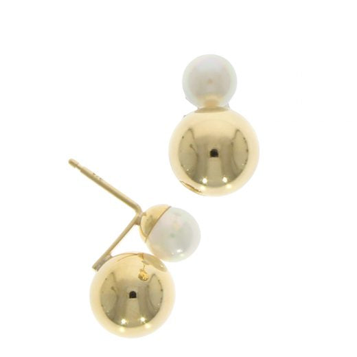 9ct Gold Pearl & Gold Ball Stud Earrings
