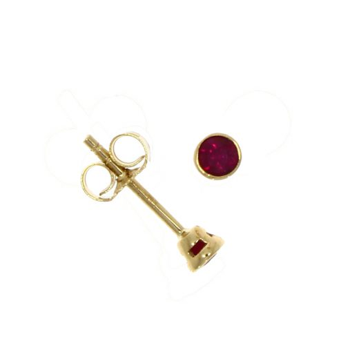 9ct Gold Solitaire Ruby Stud Earrings