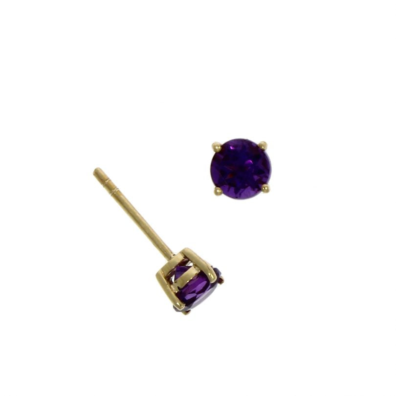 9ct Gold Amethyst Claw Set Stud Earrings