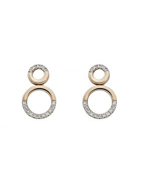 9ct Gold Diamond Double Circle Stud Earrings