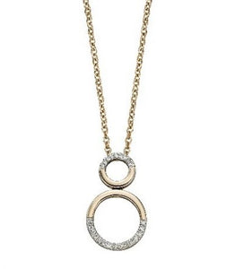 9ct Gold Diamond Set Double Circle Necklace
