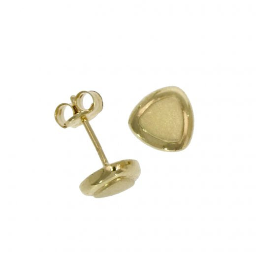 9ct Gold Satin & Polished Triangle Stud Earrings