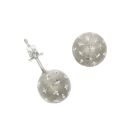 9ct White Gold Ball Studs Satin Finish with Star Engraving