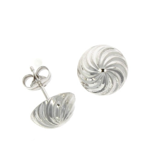 9ct White Gold Swirl Dome Stud Earrings