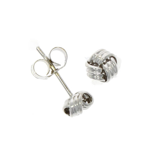 9ct White Gold Small Knot Stud Earrings
