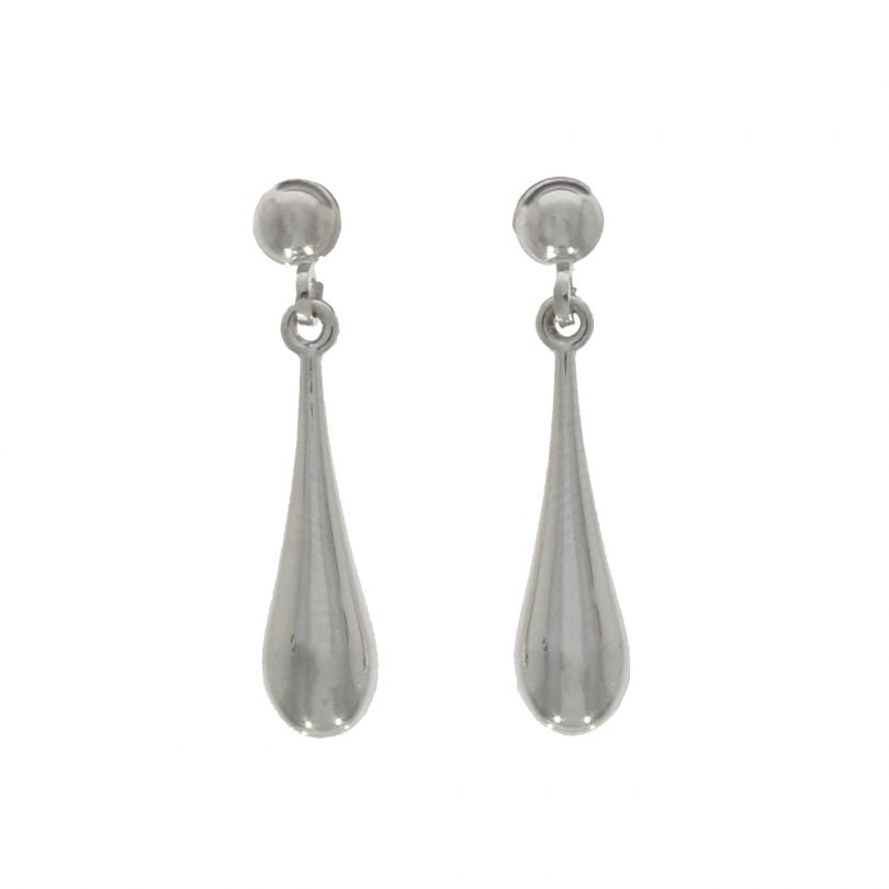 9ct White Gold Polished Torpedo Drop Earrings