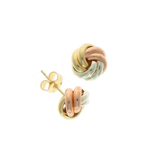 9ct Three Colour Gold Knot Stud Earrings