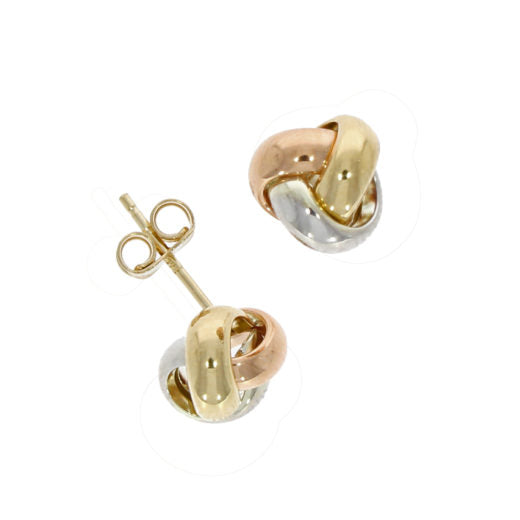 9ct Yellow, Rose & White Gold Knot Studs