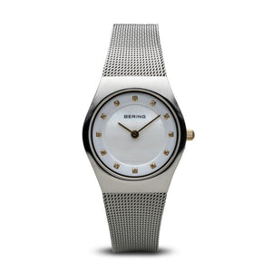 Bering Watch - Ladies Classic Brushed Steel with Gold Plate Detail 27mm