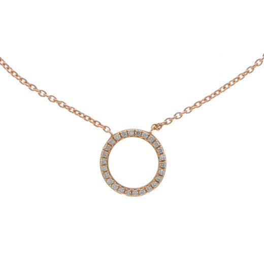 18ct Rose Gold Diamond Circle Necklace