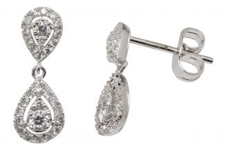 9ct White Gold Diamond Double Pear Drop Earrings