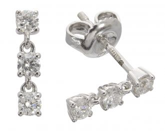 18ct White Gold Diamond Line Drop Earrings