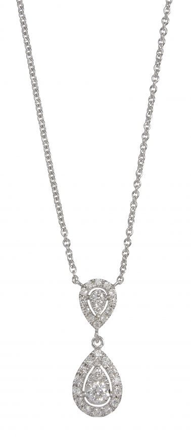 9ct White Gold Diamond Double Pear Drop Necklace