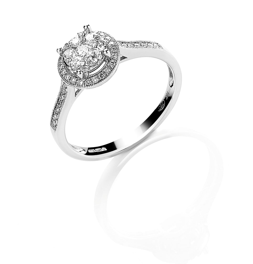 Diamond Halo Cluster Ring with diamond set Shoulders 0.40ct