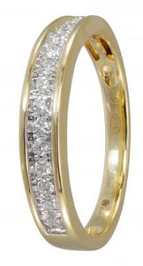 18ct Yellow Gold Half Set Eternity Ring 0.18ct
