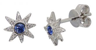 9ct White Gold Sapphire & Diamond Star Earrings