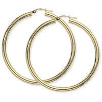 9ct Yellow Gold  Large Plain Hoops