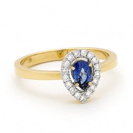 18ct gold Sapphire and Diamond Pear Halo Ring