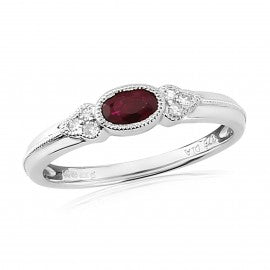 9ct White Gold Ruby & Diamond Ring