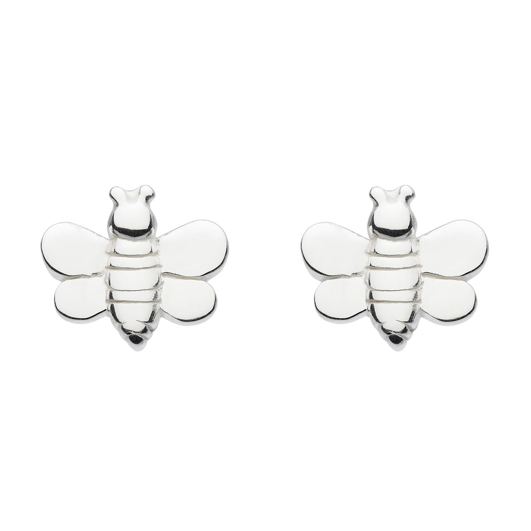 Silver Buzzy Bee Studs