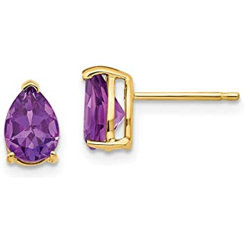 9ct Yellow Gold Pear Cut Amethyst Studs