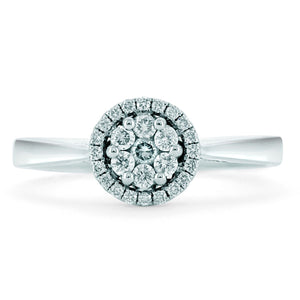 18ct White Gold Diamond Cluster Halo Ring 0.50ct