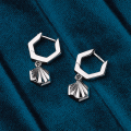 Load image into Gallery viewer, Kit Heath Empire Deco Hexagonal Hoop Drops